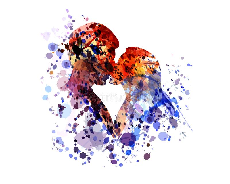 Silhueta da aquarela de beijar povos ilustração do vetor