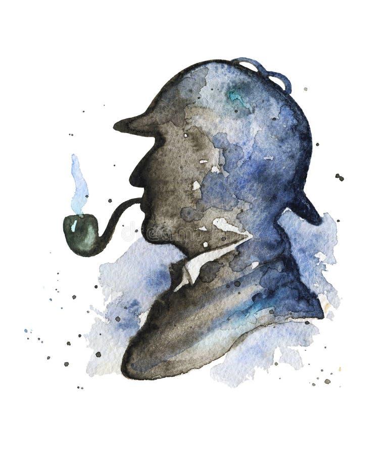 Silhueta da aquarela de Sherlock Holmes ilustração do vetor