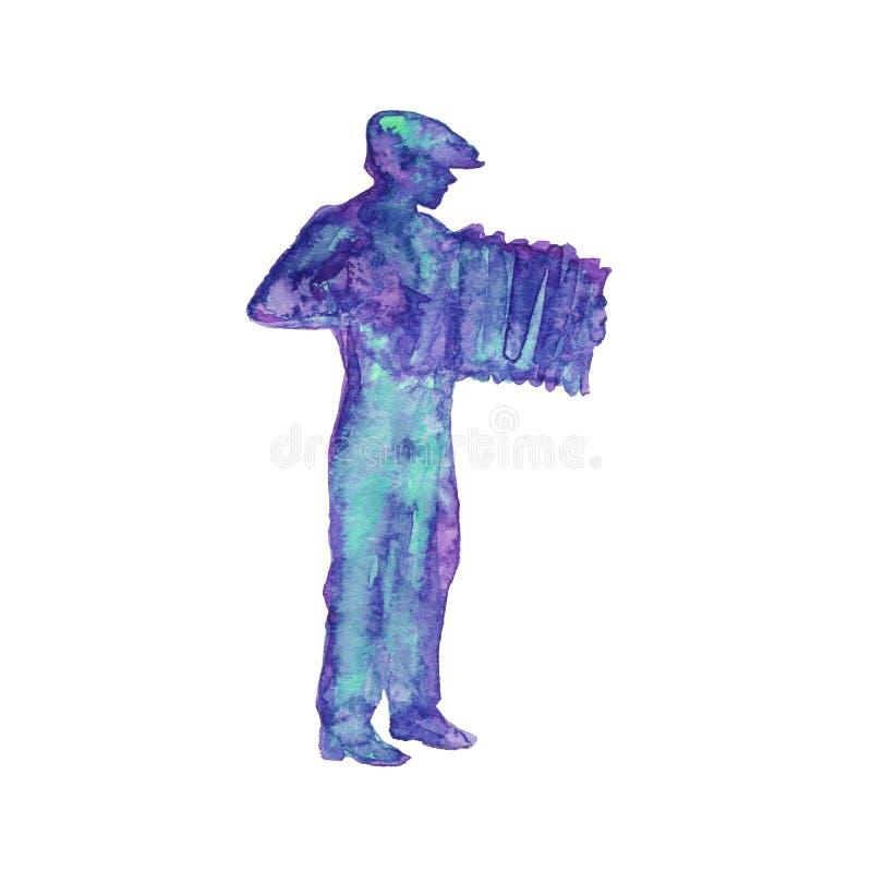 Silhueta da aquarela do homem fotografia de stock