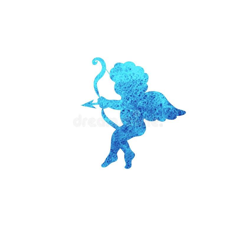 Silhueta da aquarela do símbolo de Valentine Day Cupid isolada no branco ilustração royalty free