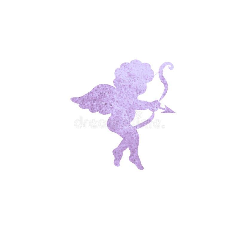 Silhueta da aquarela do símbolo de Valentine Day Cupid isolada no branco ilustração do vetor