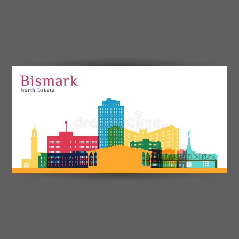 Silhueta da arquitetura da cidade de Bismarck