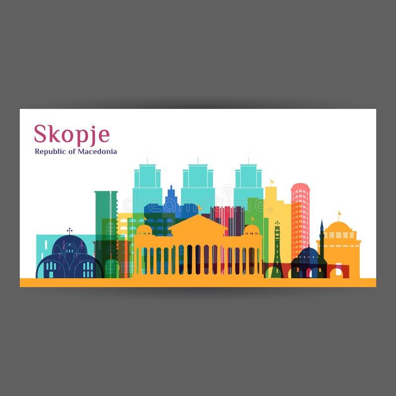 Silhueta da arquitetura da cidade de Skopje