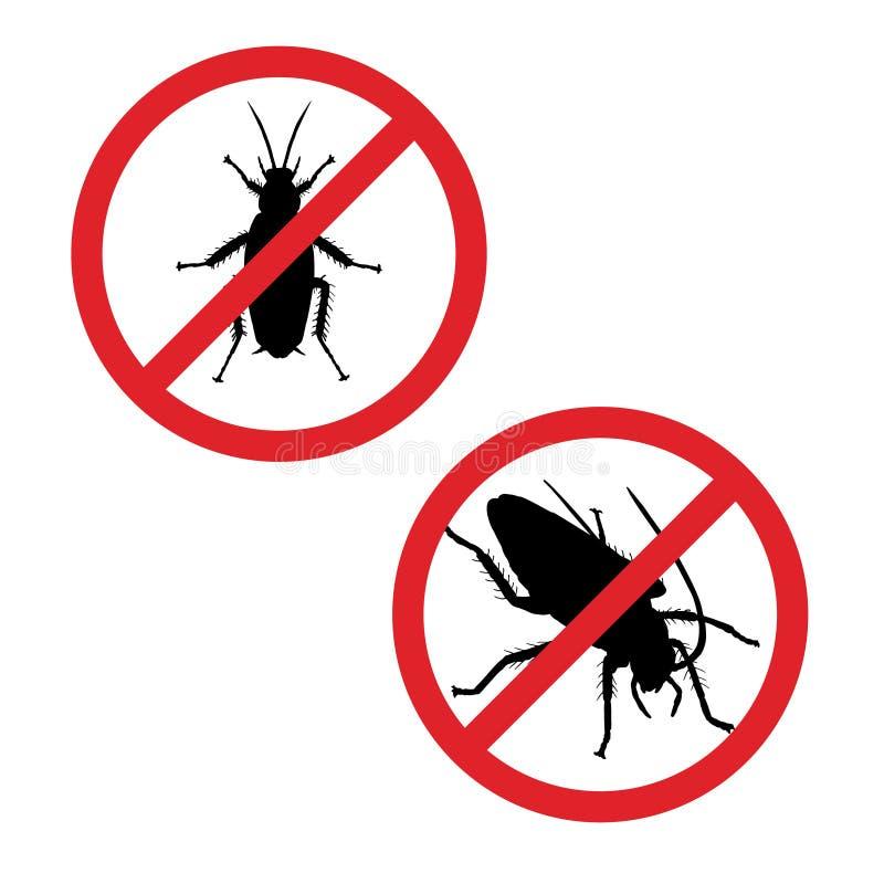 Silhueta da barata no sinal da proibição Ícone do inseto Ilustração do vetor ilustração royalty free