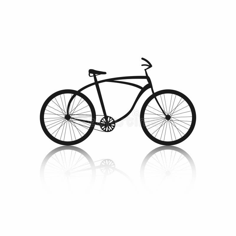 Silhueta da bicicleta isolada no fundo branco Ícone preto da bicicleta ilustração do vetor