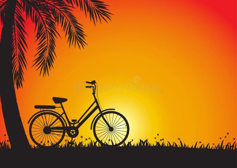 Silhueta da bicicleta no prado com a palmeira no fundo dourado do por do sol ilustração stock