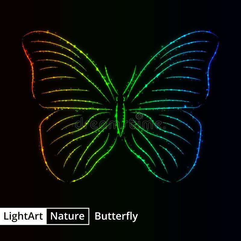 Silhueta da borboleta das luzes no fundo preto ilustração royalty free