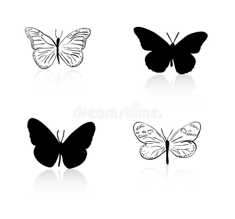 A silhueta da borboleta e alinha a fotos de stock royalty free