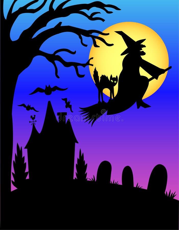 Silhueta da bruxa de Halloween/eps ilustração do vetor