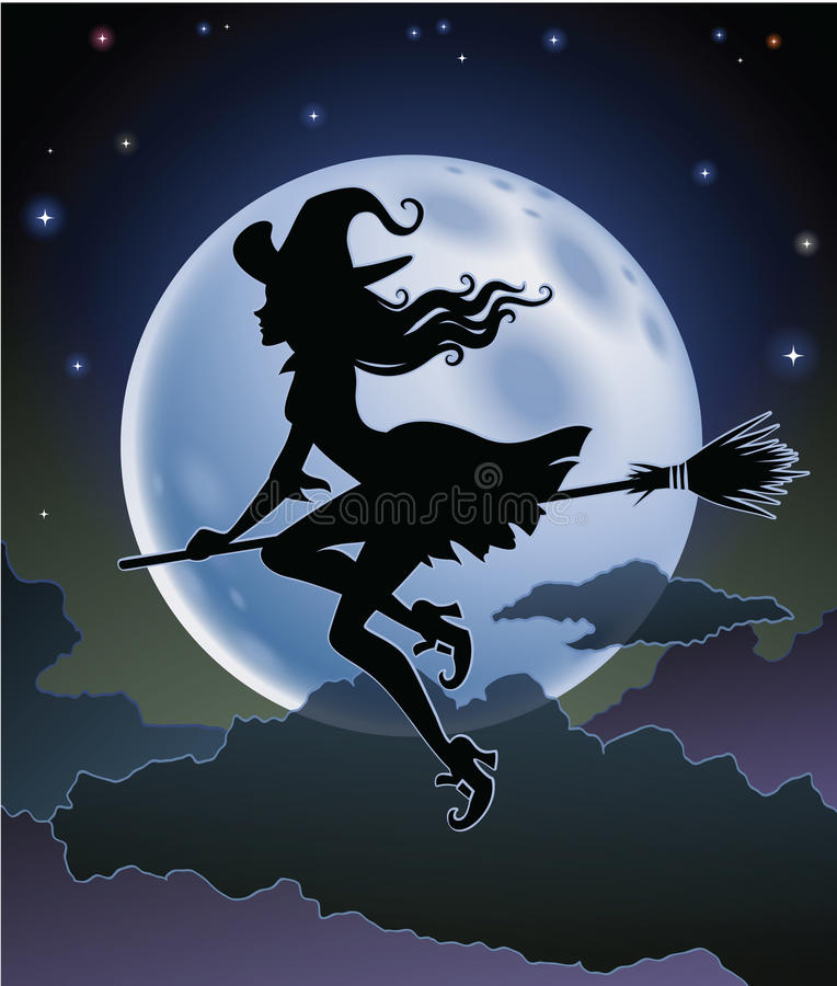 Silhueta da bruxa do vôo ilustração do vetor