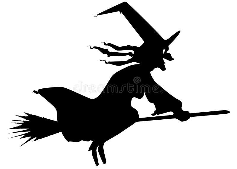 Silhueta da bruxa e da vassoura ilustração royalty free
