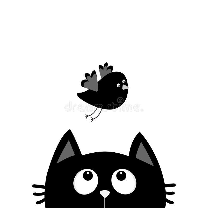 Silhueta da cabeça da cara do gato preto que olha acima ao pássaro de voo Personagem de banda desenhada bonito Animal de Kawaii C ilustração do vetor