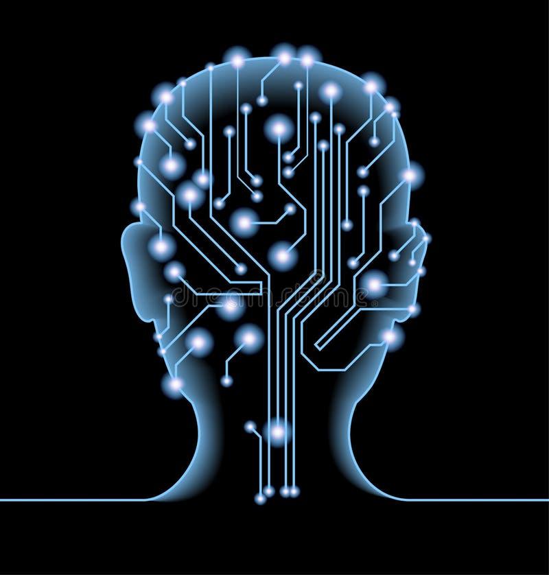 Silhueta da cabeça do ` s do homem com o cartão-matriz e as engrenagens ilustração do vetor