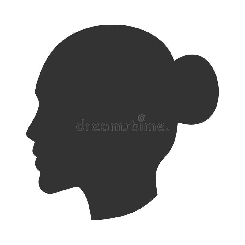 Silhueta da cabeça fêmea, cara da mulher no perfil, vista lateral ilustração royalty free