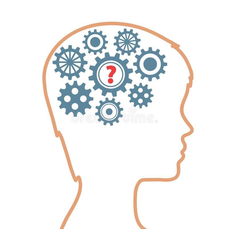 Silhueta da cabeça humana com as engrenagens como a pergunta do cérebro e do sinal, ilustração royalty free