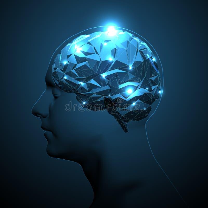 Silhueta da cabeça humana com cérebro ativo ilustração stock