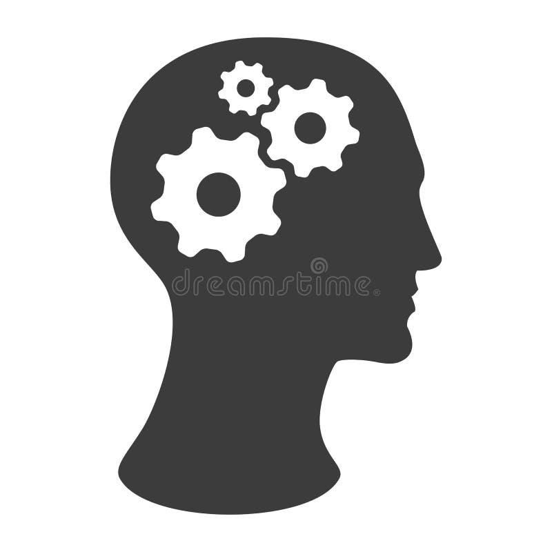 Silhueta da cabeça humana com engrenagens ilustração do vetor