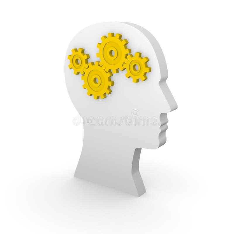 Silhueta da cabeça humana com engrenagens amarelas ilustração royalty free
