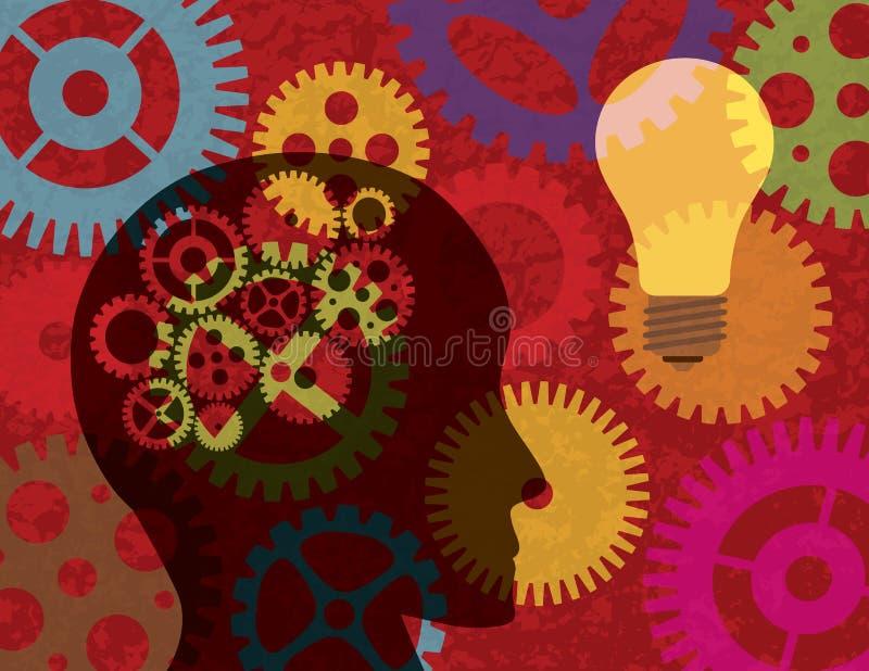 Silhueta da cabeça humana com fundo Illust das engrenagens ilustração stock