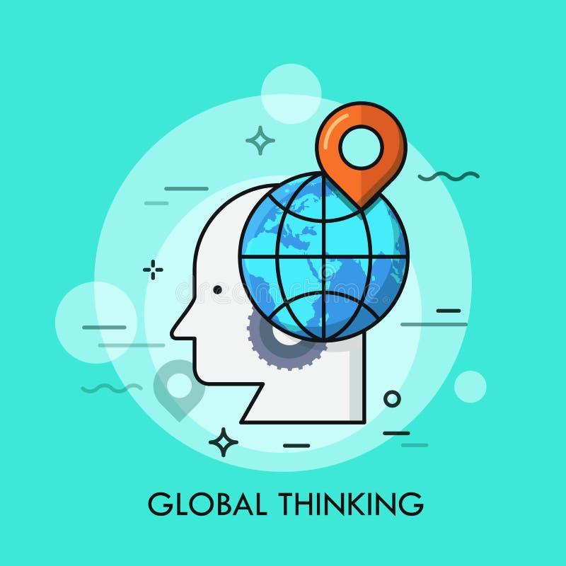 Silhueta da cabeça humana, da roda de engrenagem, do globo e da marca de lugar nela Conceito do pensamento global, conhecimento i ilustração royalty free