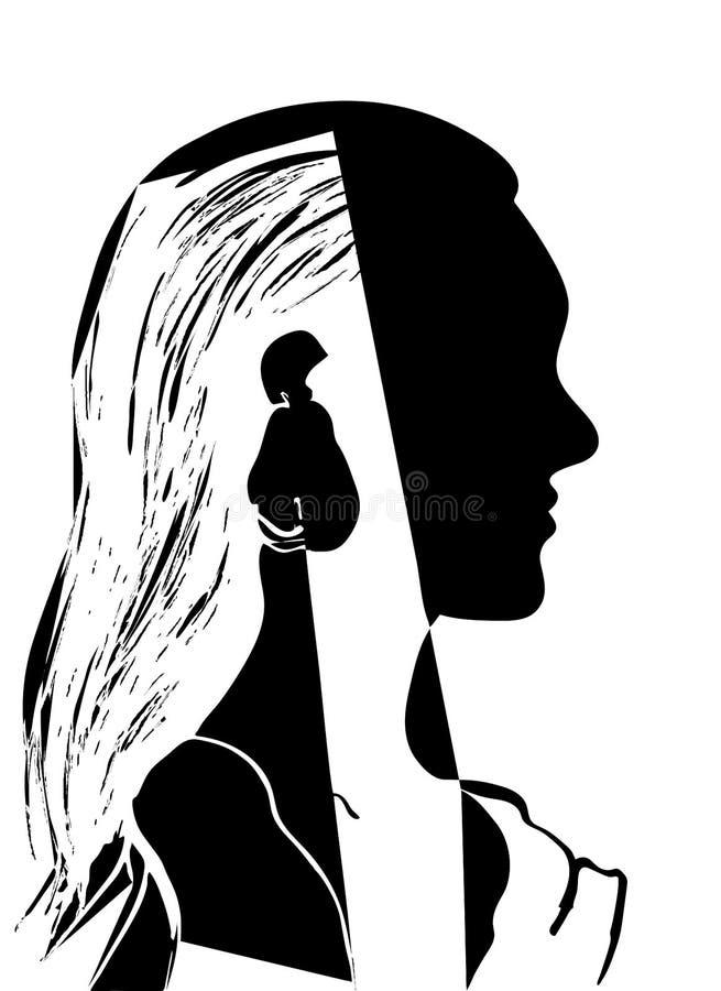 Silhueta da cabeça da mulher Perfil de uma moça bonita com cabelo longo Ilustração preto e branco do vetor Conceito da forma ilustração royalty free