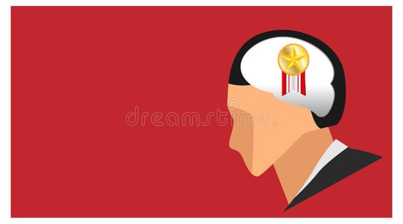Silhueta da cabeça que pensa sobre o símbolo dourado do pino da fita da estrela da apreciação ilustração do cérebro que pensa no foto de stock