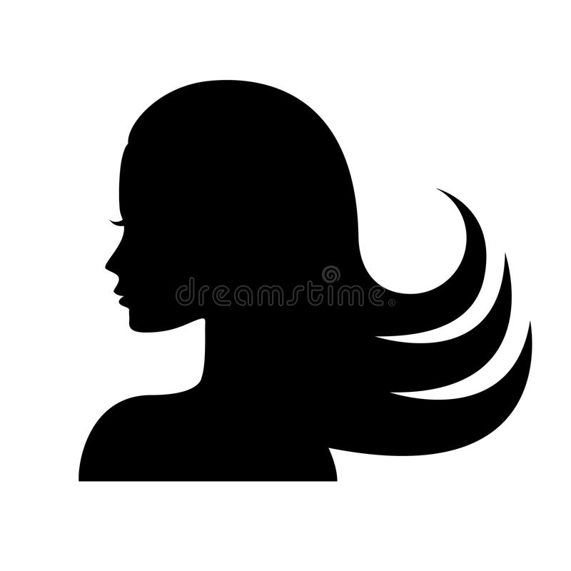 Silhueta da cara da mulher no perfil ilustração royalty free