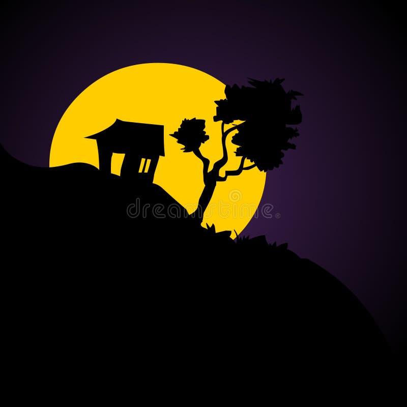 Silhueta da casa com céu noturno estrelado e lua ilustração royalty free