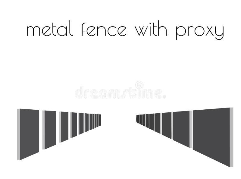 silhueta da cerca do metal no fundo branco ilustração do vetor