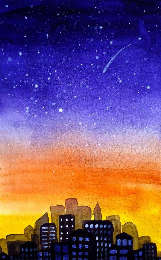Silhueta da cidade, da arquitetura da cidade em um fundo do nascer do sol amarelo roxo do inclinação e de um céu estrelado com es ilustração do vetor