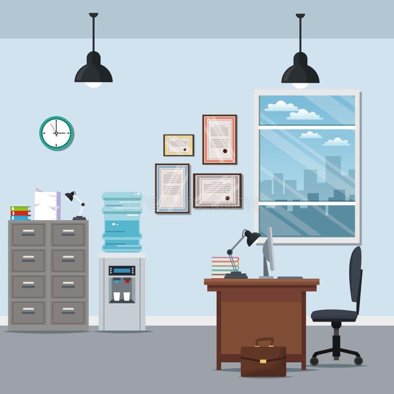 Silhueta da cidade da janela da lâmpada do certificado do distribuidor da água do armário da mesa da cadeira do espaço de trabalh ilustração do vetor