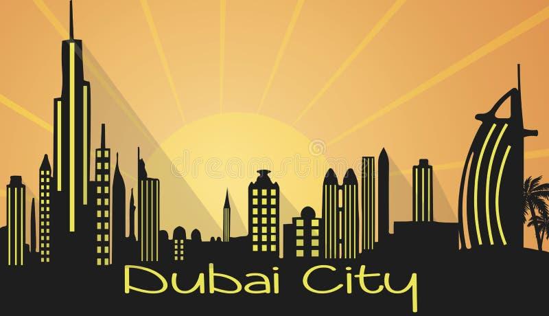 Silhueta da cidade de Dubai ilustração royalty free