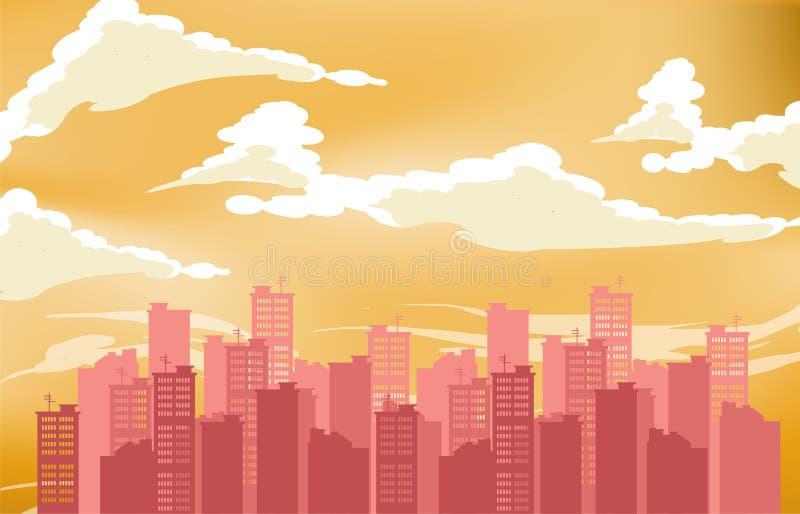 Silhueta da cidade Fundo da arquitectura da cidade Paisagem urbana Para a bandeira ou o molde Cidade moderna com camadas ilustração do vetor