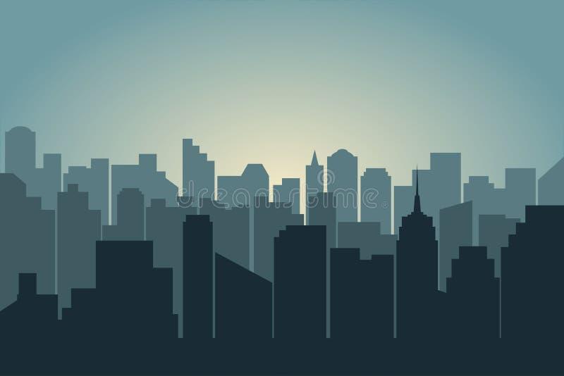 Silhueta da cidade Ilustração da skyline urbana com arranha-céus e construções ilustração royalty free
