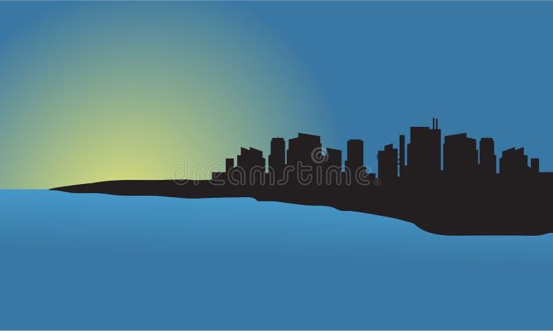 Silhueta da cidade no por do sol na praia ilustração royalty free