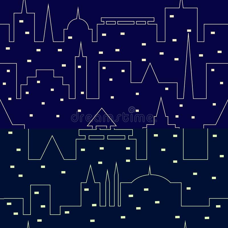 Silhueta da cidade da noite Teste padrão sem emenda Cópia urbana ilustração stock