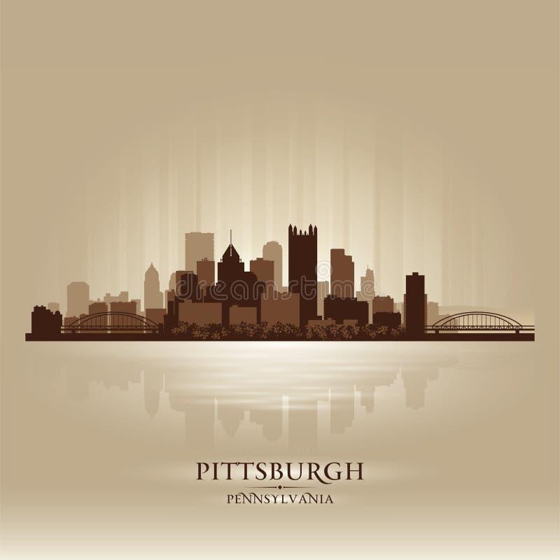 Silhueta da cidade da skyline de Pittsburgh Pensilvânia ilustração royalty free