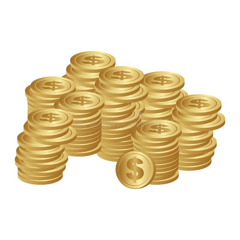 silhueta da cor com moedas empilhadas ilustração stock
