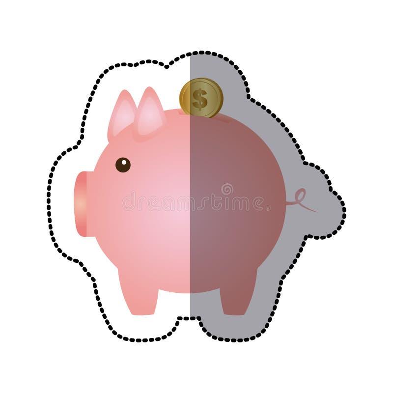 silhueta da cor da etiqueta com a caixa de dinheiro na forma do porco ilustração royalty free