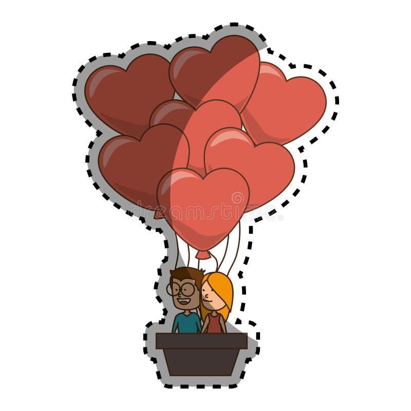 Silhueta da cor da etiqueta com pares no balão de ar quente na forma dos corações ilustração royalty free