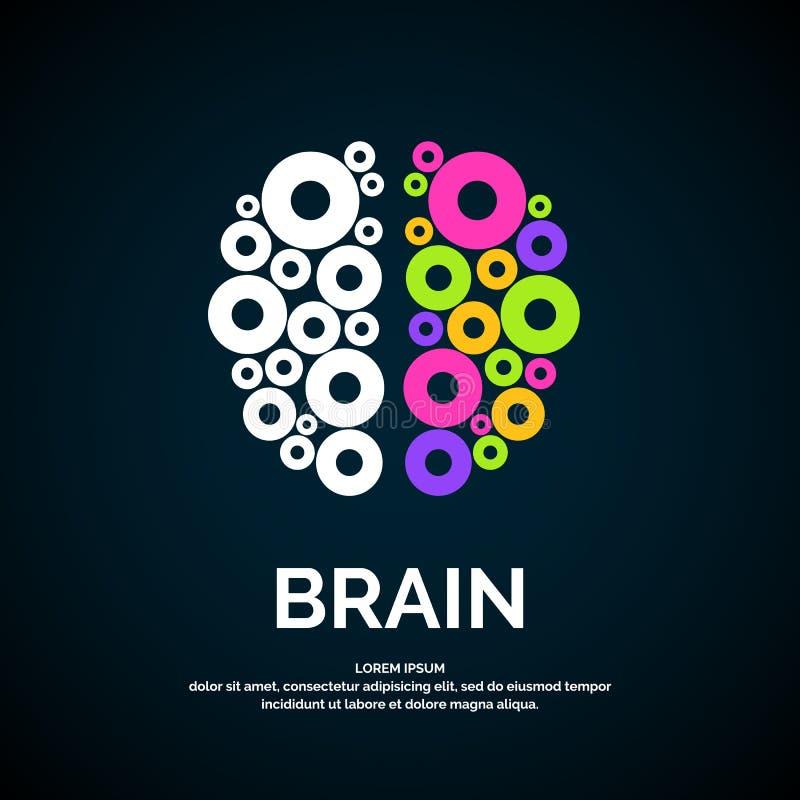 Silhueta da cor do cérebro do logotipo do vetor ilustração royalty free