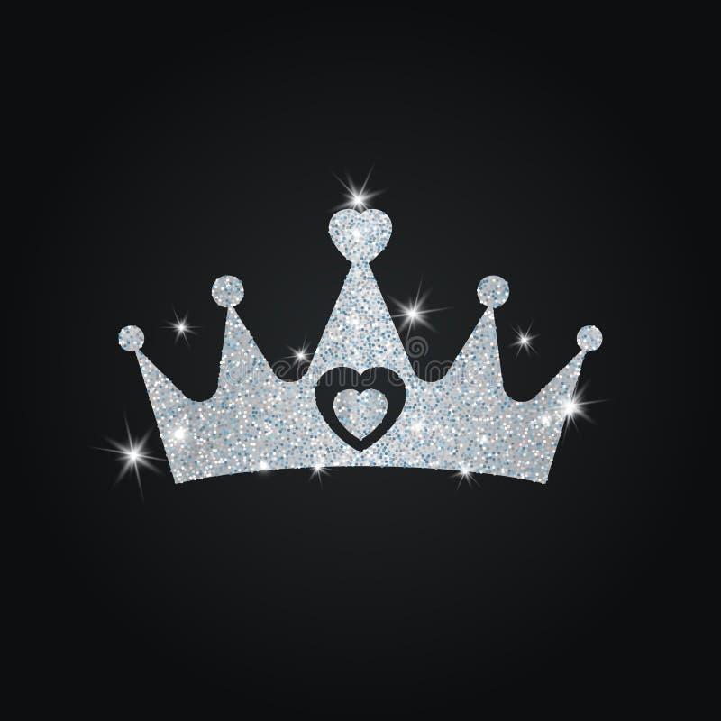 Silhueta da coroa com brilhos ilustração do vetor
