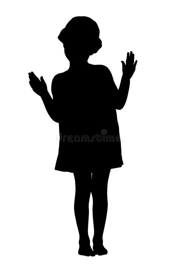 Silhueta da criança com trajeto de grampeamento ilustração royalty free