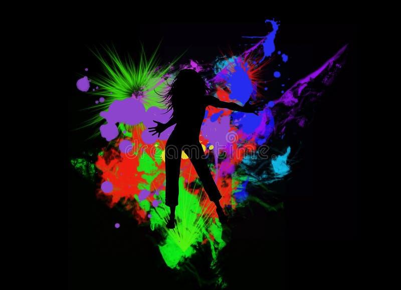 Silhueta da dança da menina ilustração stock