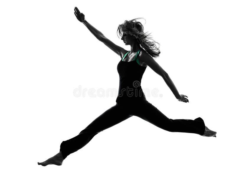 Silhueta da dança do dançarino da mulher imagem de stock royalty free
