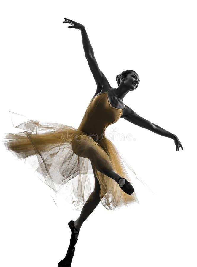 Silhueta da dança do dançarino de bailado da bailarina da mulher foto de stock royalty free