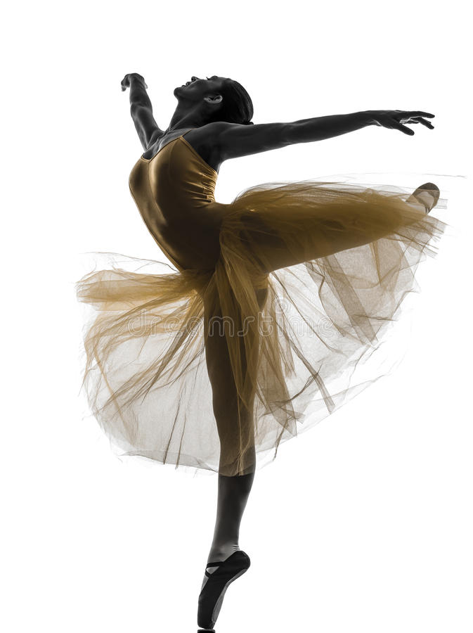 Silhueta da dança do dançarino de bailado da bailarina da mulher fotos de stock royalty free