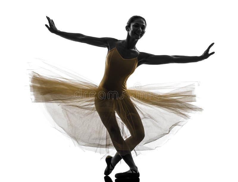 Silhueta da dança do dançarino de bailado da bailarina da mulher imagem de stock