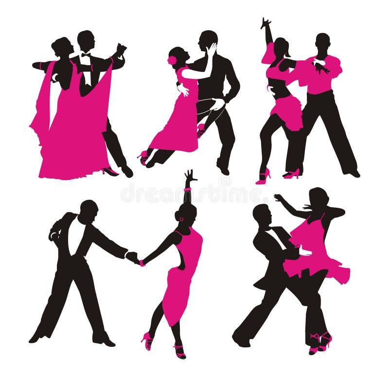 Silhueta da dança dos pares ilustração royalty free