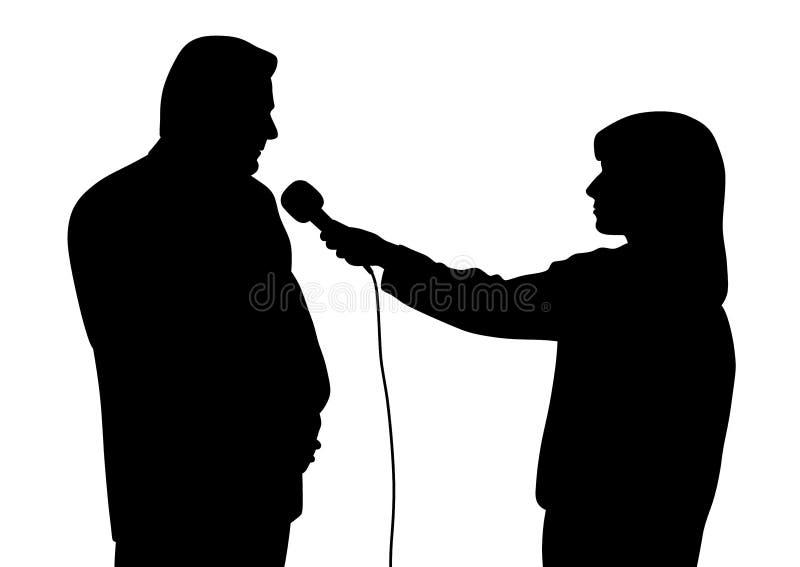 Silhueta da entrevista ilustração do vetor